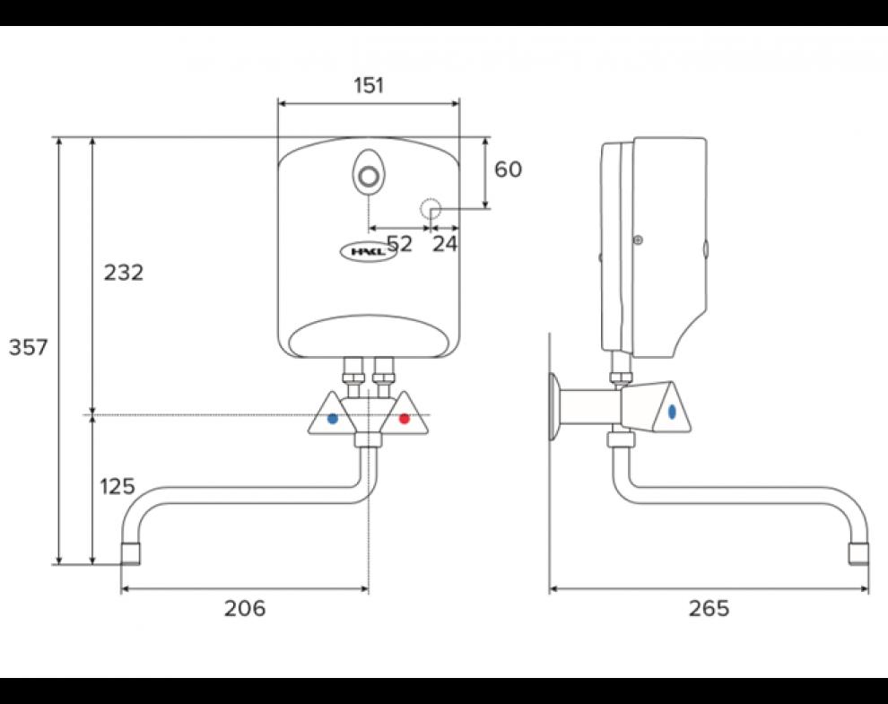 HAKL LC SET el. prietokového ohrievača vody a klasickej batérie, 5,5 kW