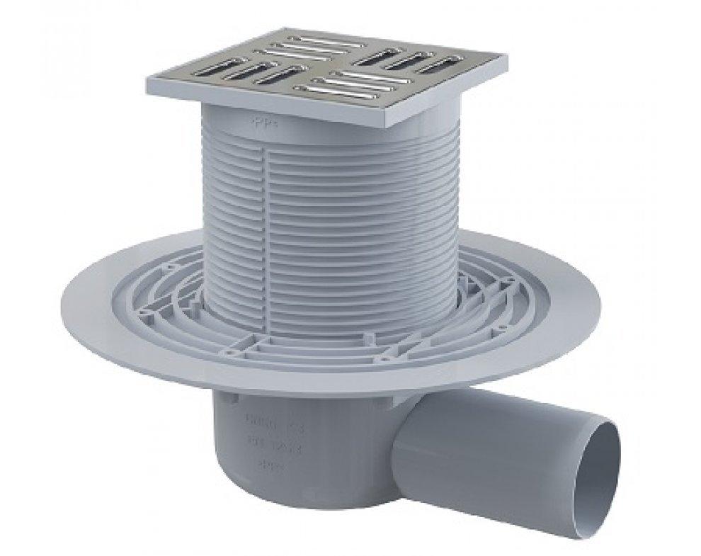 Podlahová vpusť 105 × 105/50 bočná, mriežka nerez, kombinovaná zápachová uzávera SMART