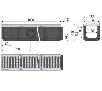 Vonkajší žľab 100 mm s pozinkovaným rámom a liatinovým roštom