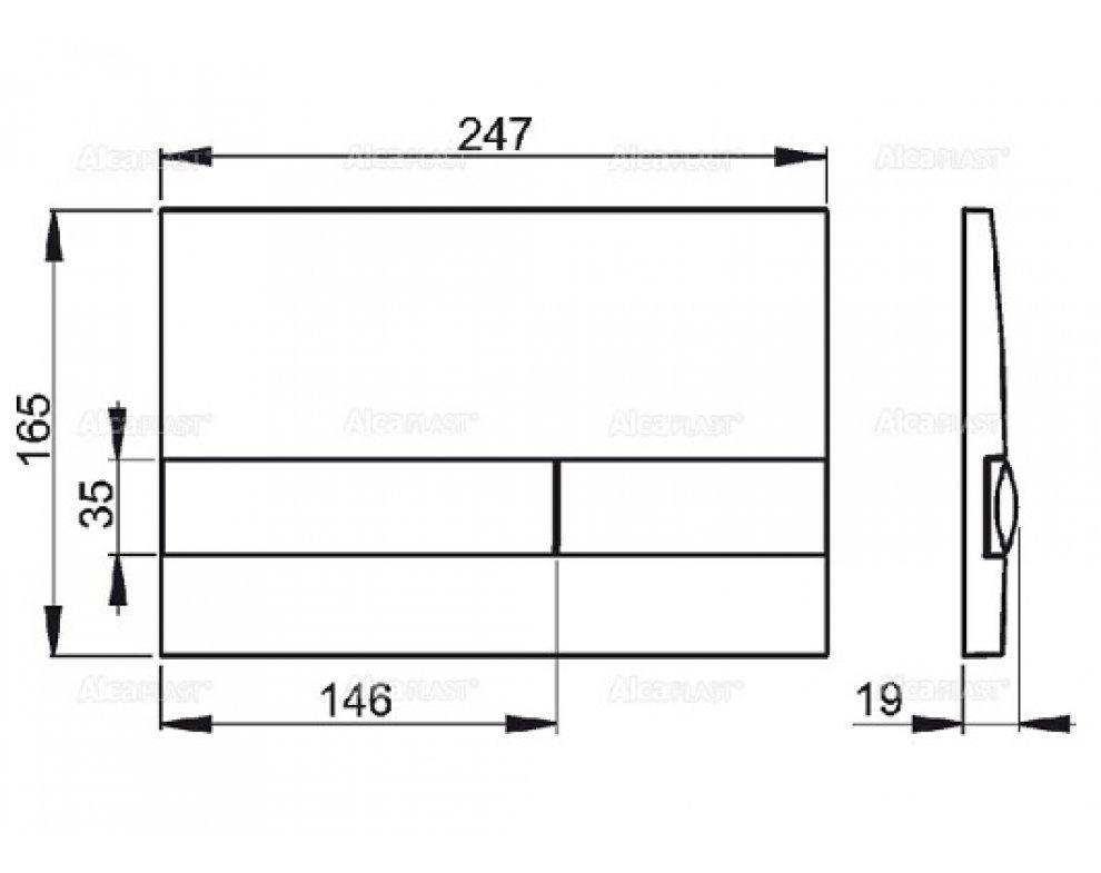 Ovládacie tlačítko pre predstenové inštalačné systémy, chrom-lesk/mat