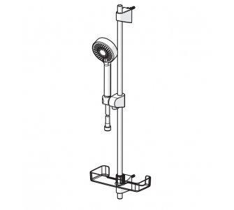 Sada s nástennou tyčou 720 mm; ručná sprcha, HANSABASICJET trojpolohová, sprchová hadica 1,75 m, mydlovnička