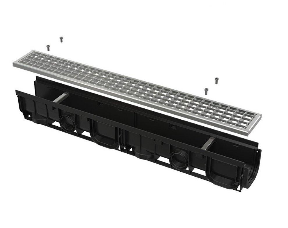 Vonkajší žľab 100 mm s integrovaným plastovým rámom a pozinkovaným roštom