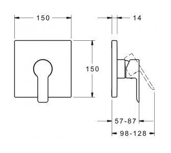 batéria sprchová podomietková pre 1 odberné miesto, HANSALIGNA