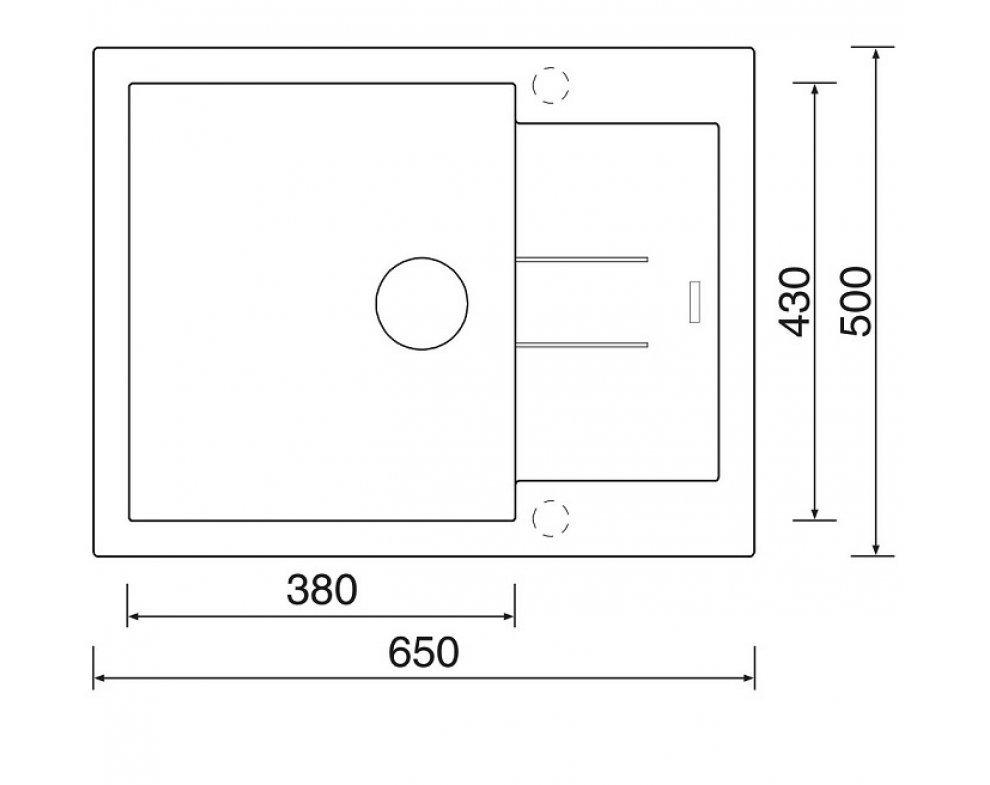SET drez granit Sinks AMANDA 650 Metalblack + batéria VITALIA GR