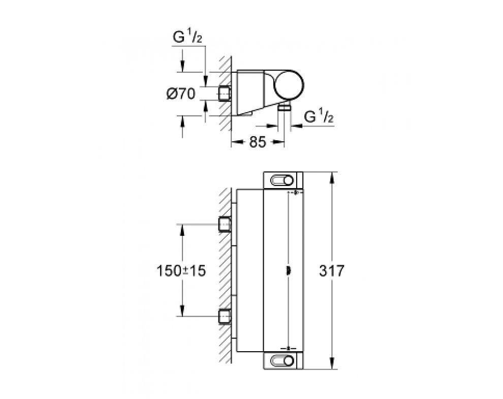 Termostatická sprchová batéria, Grohtherm 2000, chróm