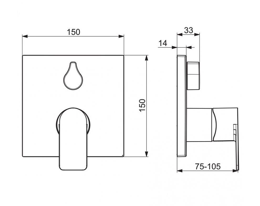 batéria sprchová podomietková, pre 2 odberné miesta, HANSASTELA, chróm
