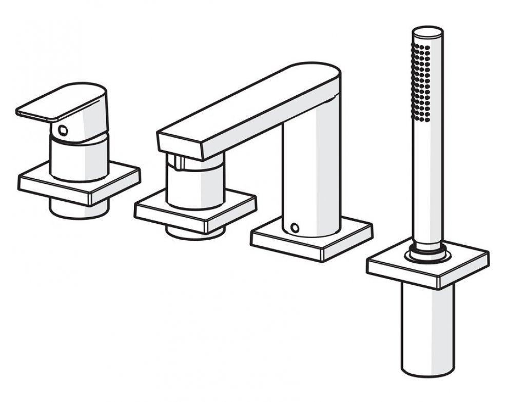 batéria sprchová 4-otvorová, na okraj vane, so štvorcovou rozetou, HANSASTELA, chróm