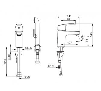 batéria umývadlová stojanková s bidetovou sprškou, HANSAPINTO