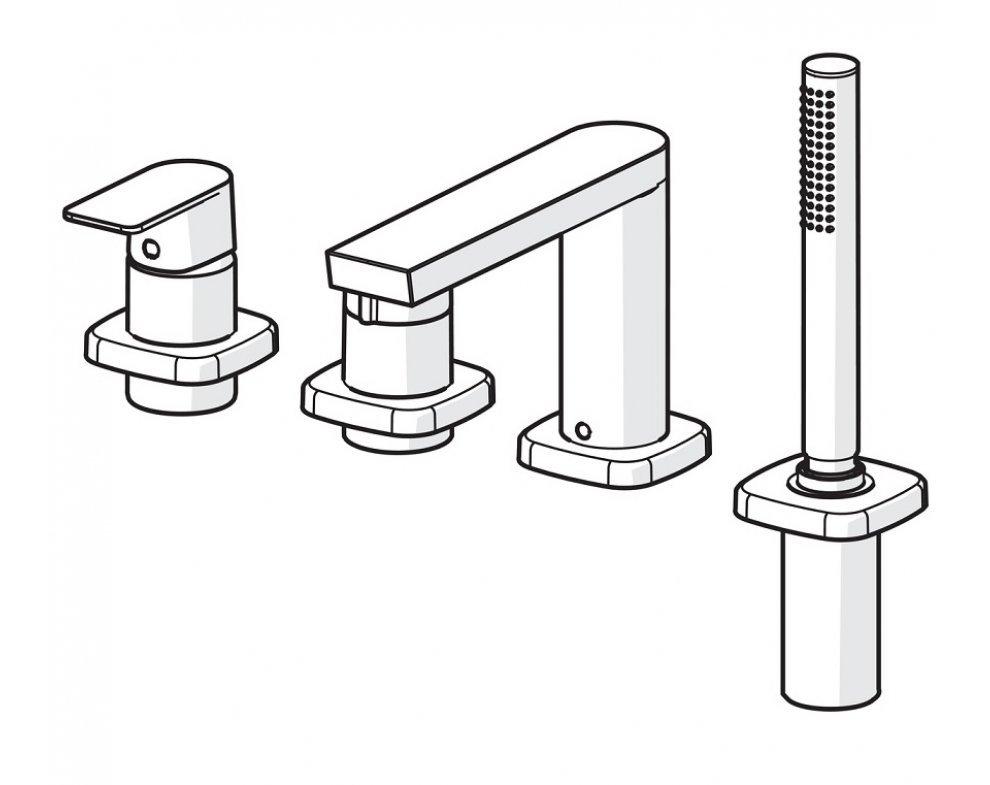 batéria sprchová 4-otvorová, na okraj vane, so soft edge rozetou, HANSASTELA, chróm