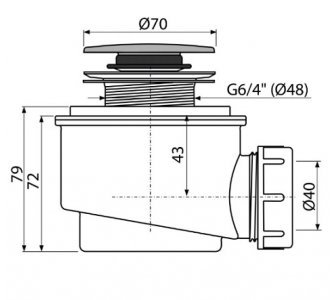 Odtoková súprava, CLICK-CLACK, plast, d70mm