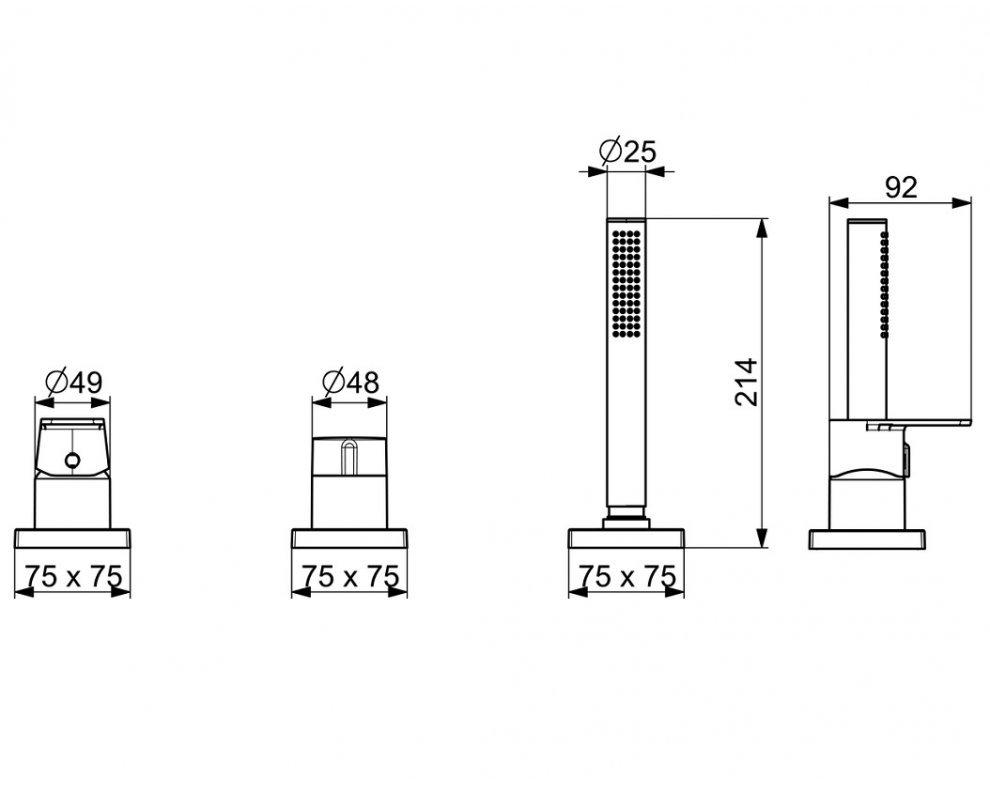 batéria sprchová 3-otvorová, na okraj vane, so štvorcovou rozetou, HANSASTELA, chróm