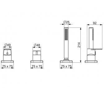 batéria sprchová 3-otvorová, na okraj vane, so soft edge rozetou, HANSASTELA, chróm