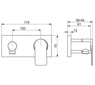batéria sprchová podomietková, pre 1 odberné miesto, HANSASTELA, chróm