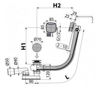 Sifón vaňový automat s napúšťaním prepadom chróm (dĺžka 80 cm)