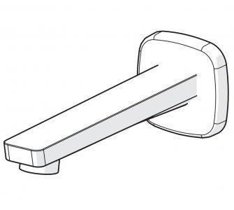 vaňové výtokové rameno, nástenná montáž, soft edge rozeta, HANSASTELA, chróm