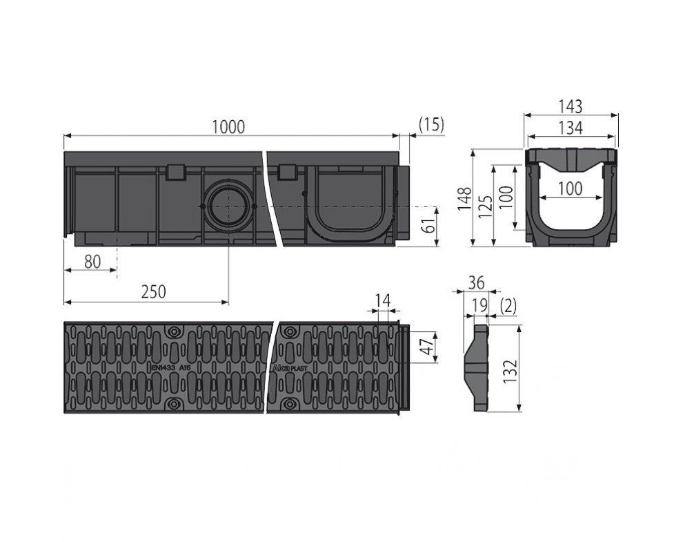 Vonkajší žľab 100 mm s plastovým rámom a plastovým roštom A15