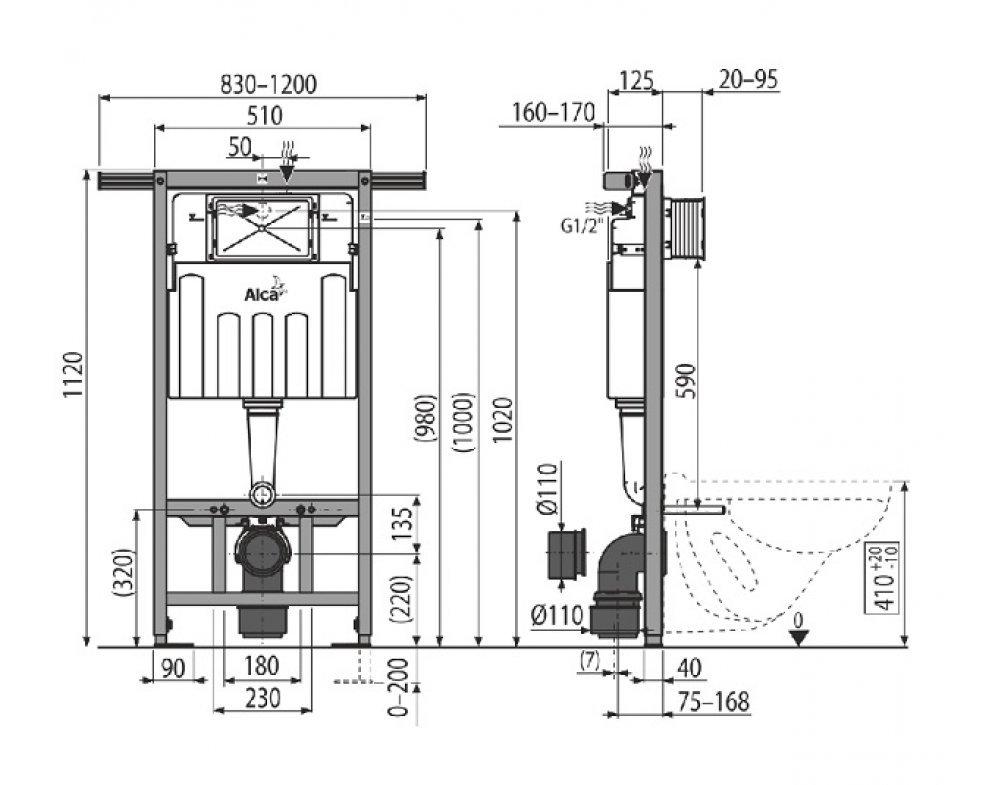 SET Jádromodul AM102/1120+M1710+WC Keramin+A60+M91, S DÁVKOVAČOM TABLIET