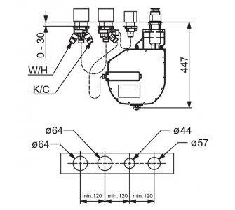 Podomietkové teleso pre 4-otvorové batérie, G3/4, DN20, ROLLBOX, HANSACOMPACT