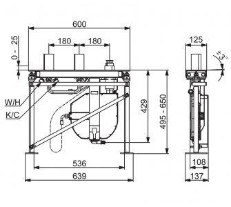 Podomietkové teleso pre 3-otvorové batérie, G3/4, DN20, ROLLBOX, HANSACOMPACT