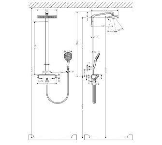 Showerpipe 360 1jet, termostatická sprchová batéria, sprchové rameno 380 mm, biela/chróm