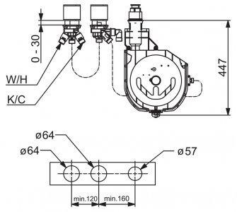 Podomietkové teleso pre 3-otvorové batérie, G3/4, DN20, ROLLBOX, HANSA