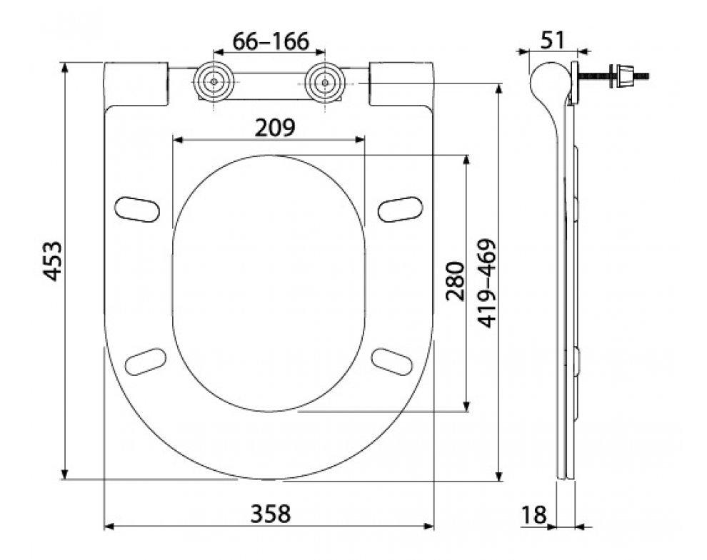 záchodové sedátko so spomaleným sklápaním, duroplast
