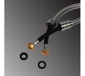 sprchová hadica kovová, trojvrstvová s otočnou koncovkou, dĺžka 200cm, blister, CHRÓM