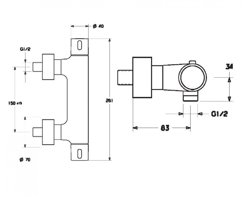 58080101 sprchová termostatická batéria HANSAPRISMA