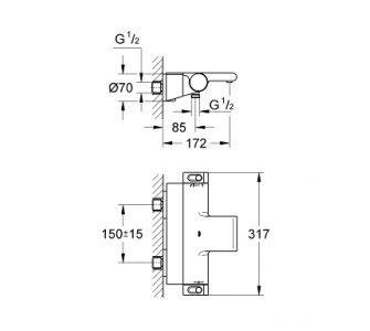 Termostatická vaňová batéria Grohtherm 2000, chróm