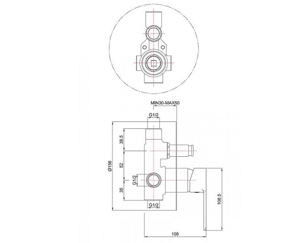 batéria sprchová podomietková pre 2 odberné miesta, VENTURA  BIELA-CHRÓM