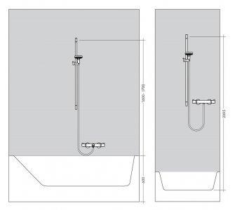 sprchový set s tyčou 650mm a sprchovou hadicou 1600mm, UNICA´S, kefovaný čieny chróm