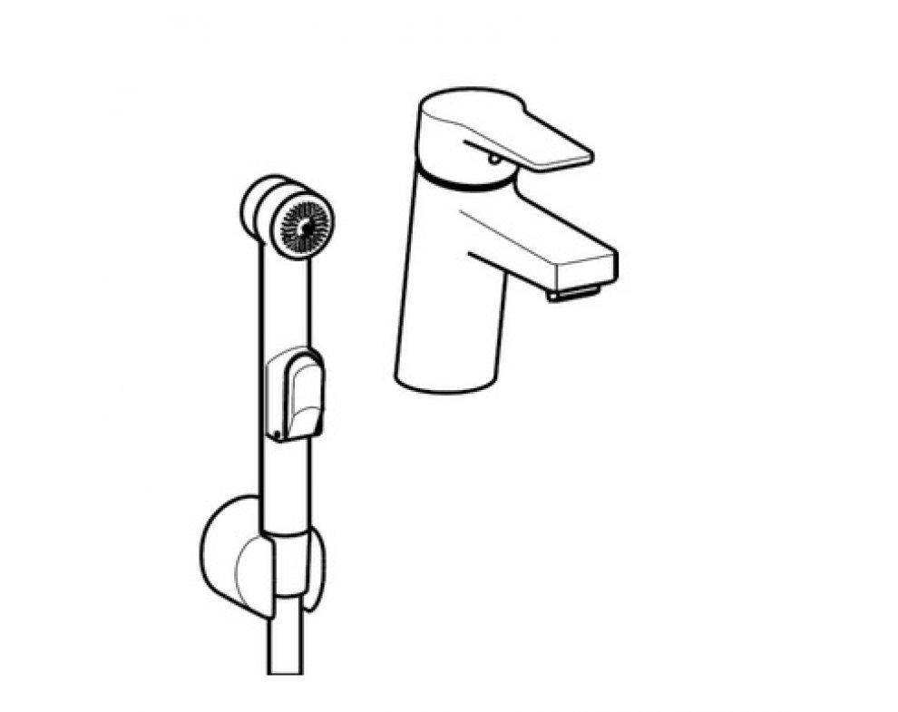 batéria umývadlová stojanková s bidetovou sprškou, HANSATWIST