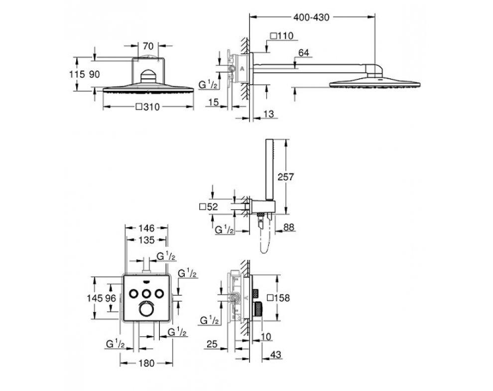 Sprchový set s podomietkovou termostatickou batériou, SMARTCONTROL Perfect, chróm