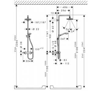 Showerpipe 180 mm 2jet, termostatická sprchová batéria, otočné sprchové rameno 400 mm, EcoSmart, biela/chrom