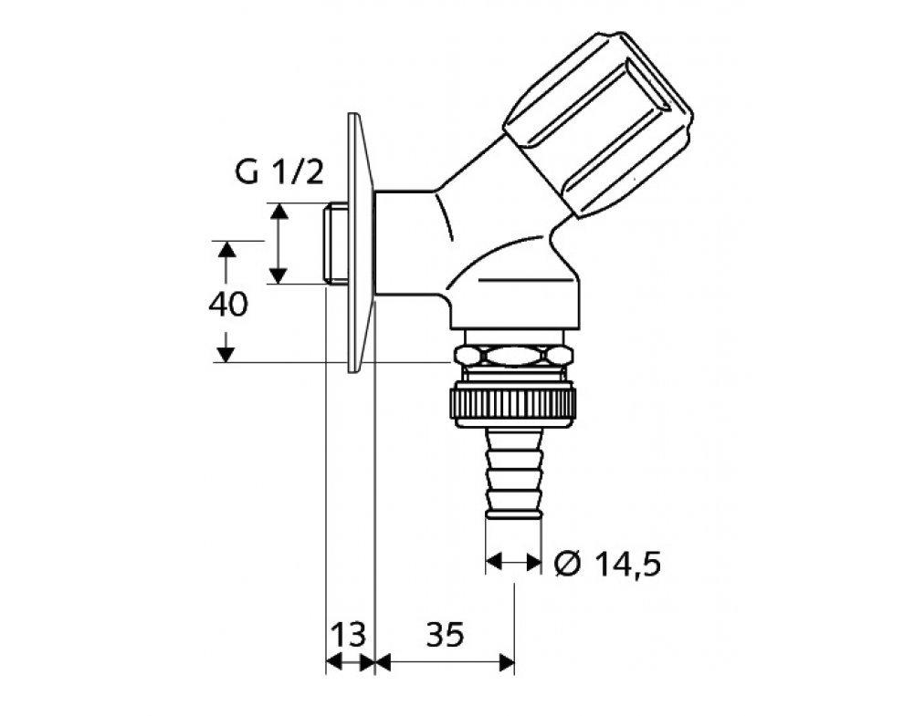 SCHELL šikmý ventil s hadicovou prípojkou COMFORT