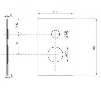 Hranatá krytka pre podomietkovú sprchovú batériu s prepínačom k AQ-BOX-066-35