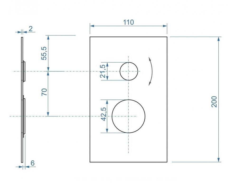 Hranatá krytka pre podomietkovú sprchovú batériu pre 2 odberové miesta s keramickým prepínačom k AQ-BOX-066CD-35