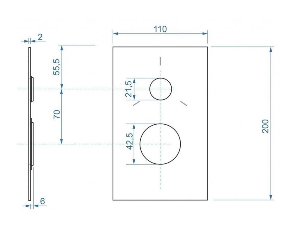 Hranatá krytka pre podomietkovú sprchovú batériu pre 3 odberové miesta s keramickým prepínačom k AQ-BOX-067CD-35