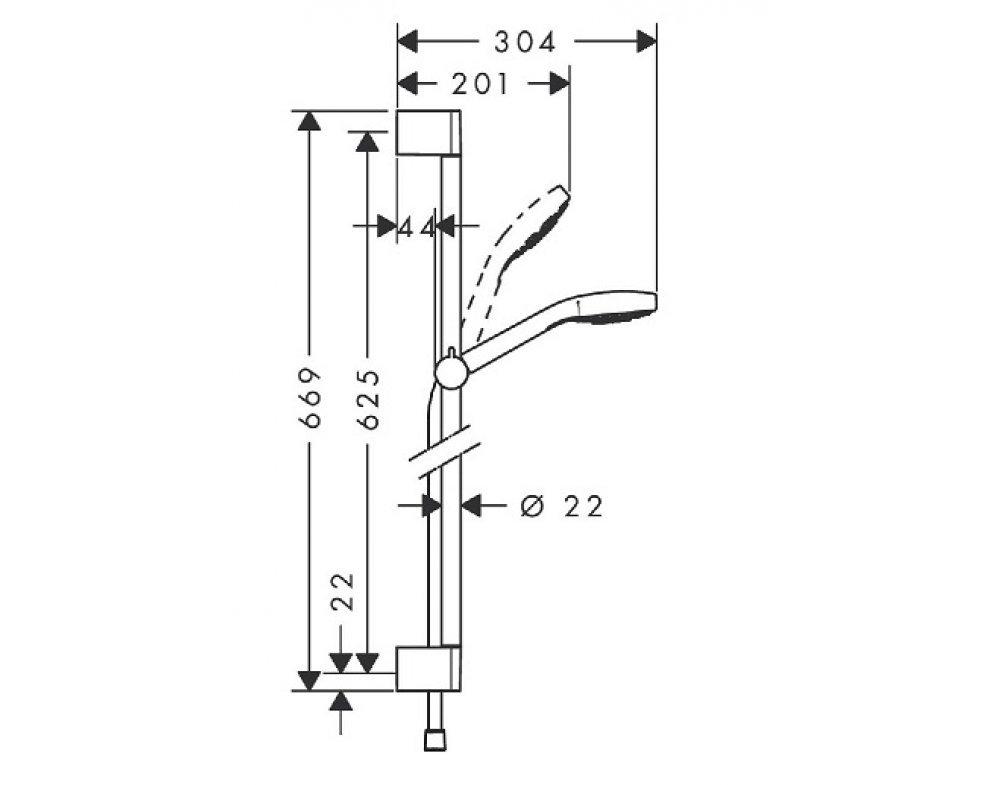 Sprchová súprava, 3-polohová ručná sprška, hadica 1600mm, tyč 650mm, CROMA SELECT E, biela-chróm