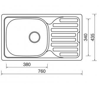 drez nerezový Sinks CLASSIC 760 V 0,5mm matný