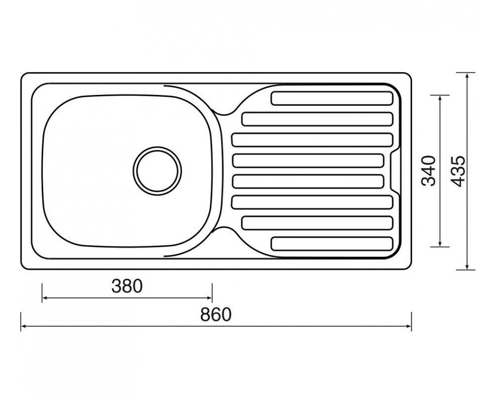 drez nerezový Sinks CLASSIC 860 V 0,5mm matný