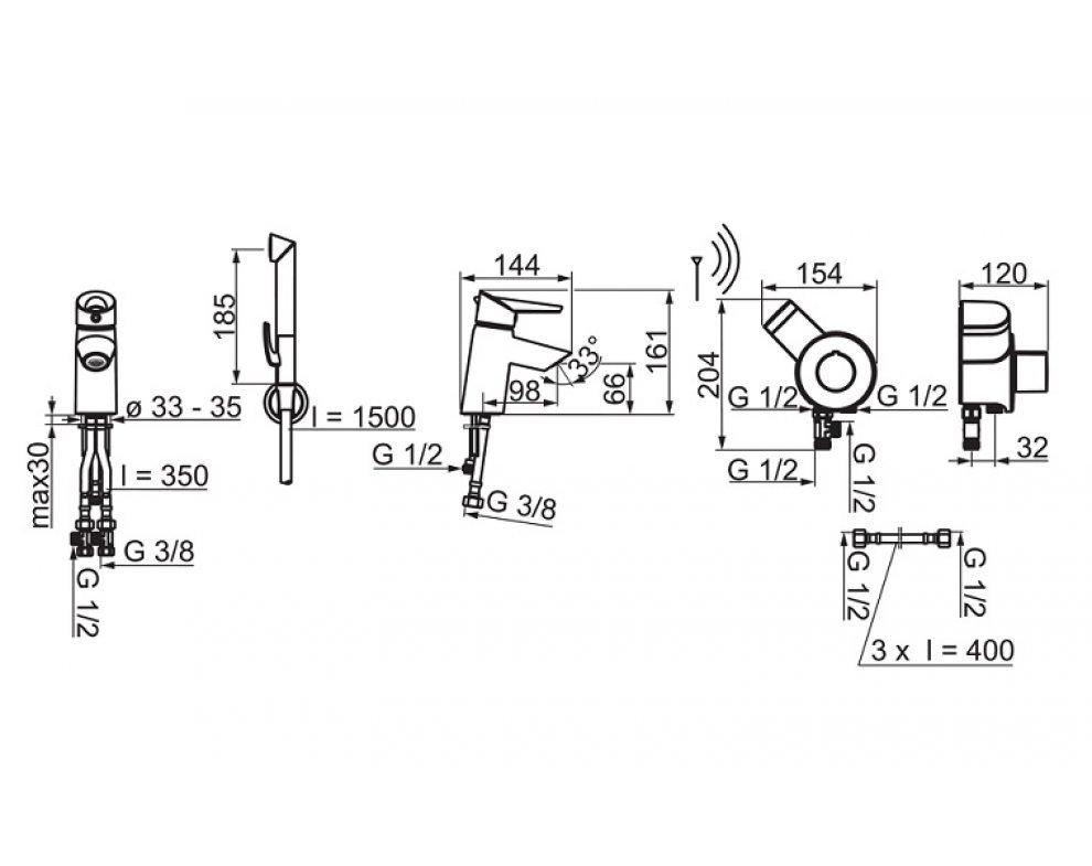 umývadlová páková batéria HANSAFIT s diaľkovo ovládanou bidetovou sprškou