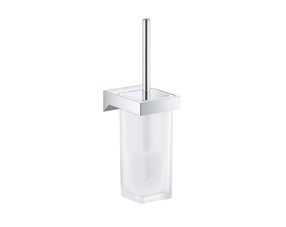 Súprava na čistenie toalety, SELECTION CUBE, sklo-kov/chróm