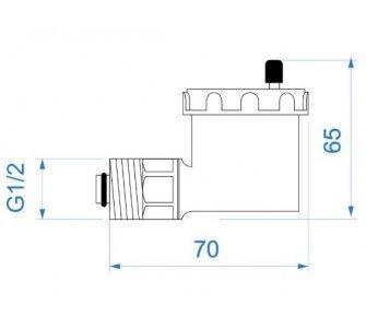 """automatický plavákový odvzdušňovací ventil, poniklovaný, rohový 3/8"""" + redukcia 1/2"""" so spät. klap."""