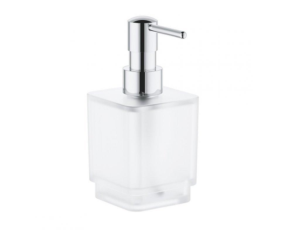 Dávkovač tekutého mydla, 300ml, SELECTION CUBE, sklo/kov-chróm