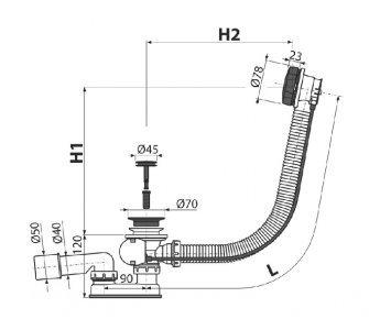 Sifón vaňový automat komplet, dĺžka 570mm, prietok 51,6l/min., DN52 , čierna matná