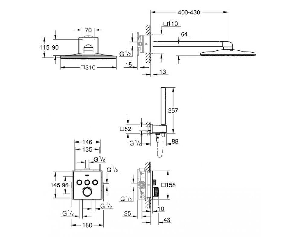 Sprchový systém s termostatickou batériou, hlavová sprcha 310x310mm, GROHTHERM SmartControl, chróm