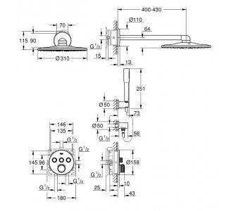 Sprchový systém s termostatickou batériou, hlavová sprcha d310mm, GROHTHERM SmartControl, chróm