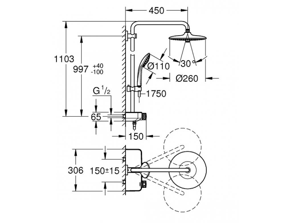 Sprchový systém s termostatickou batériou, hlavová sprcha d260mm, EUPHORIA SmartControl, chróm