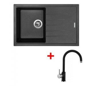SET drez granitový Sinks BEST 780 Granblack + batéria stojanková VITALIA Granblack